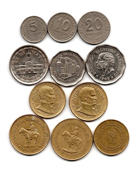Lote 11 Monedas Conmemorativas Argentina Pesos