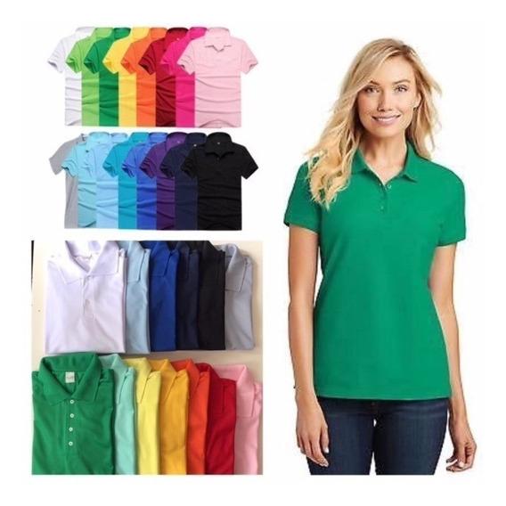 10 Camisas Polo Feminina Piquet 100% Poliester - Sortidas