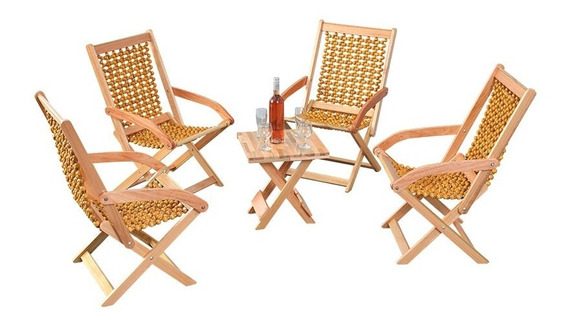 Jogo De Mesa Para Área Com 4 Cadeiras Em Madeira