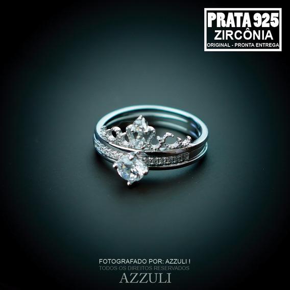 Anel Coroa Prata Pura 925 Zirconia Barato Promoção Lindo