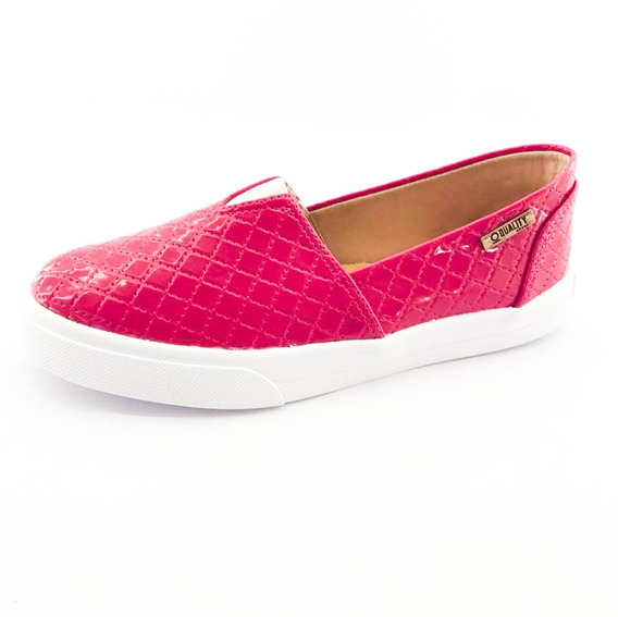 Tênis Slip On Quality Shoes Feminino 002 Matelassê Rosa