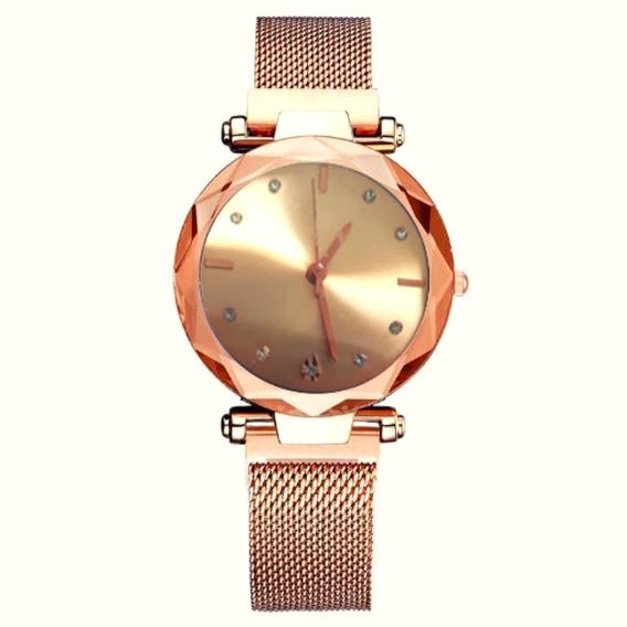 Relógio Feminino Pulso Pulseira Magnética Rose Luxo