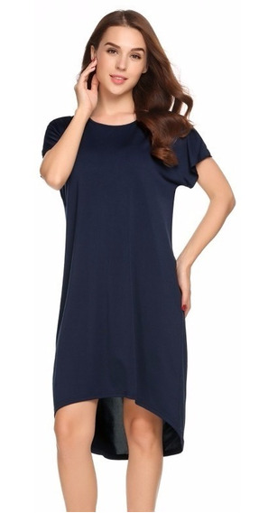 Vestido Azul Marino Manga Corta Casual Extra Grande