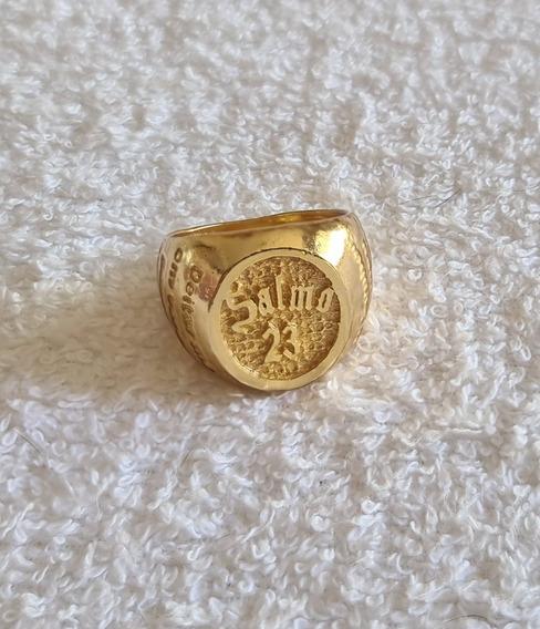 Anel Salmo 23 Banhado Ouro 18k 12 Banhos Em Ouro