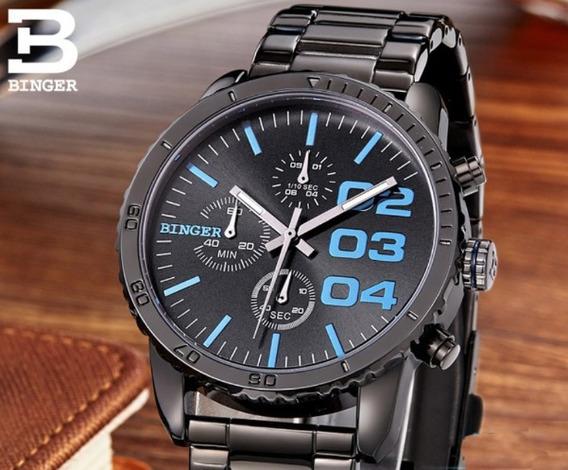 Relógio Binger Original Com Box Preto E Azul .