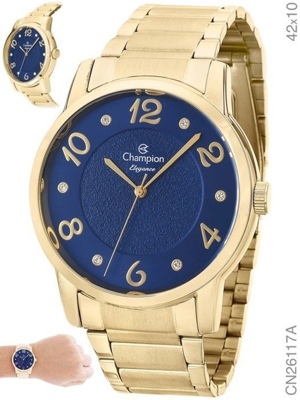 Relógio Champion Azul Feminino Cn26117k Original Com Nota