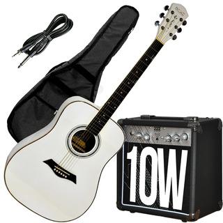 Guitarra Electroacustica Blanca + Ampli 10w Funda Cable Dame