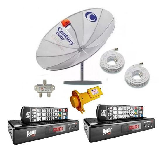 Kit Antena Digital Century + 2 Receptores Bs9500 Bedinsat