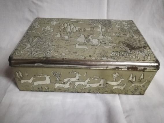 Caja Para Galletas Antigua De Metal.
