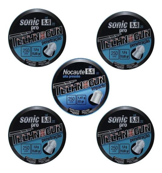 Kit 05 Chumbinhos Technogun 4 Sonic Pro + 1 Nocaute 5.5 250u