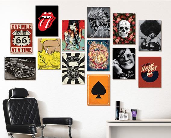 Placas Decorativas Mdf Barber Rock Vintage Kit 06 Placas