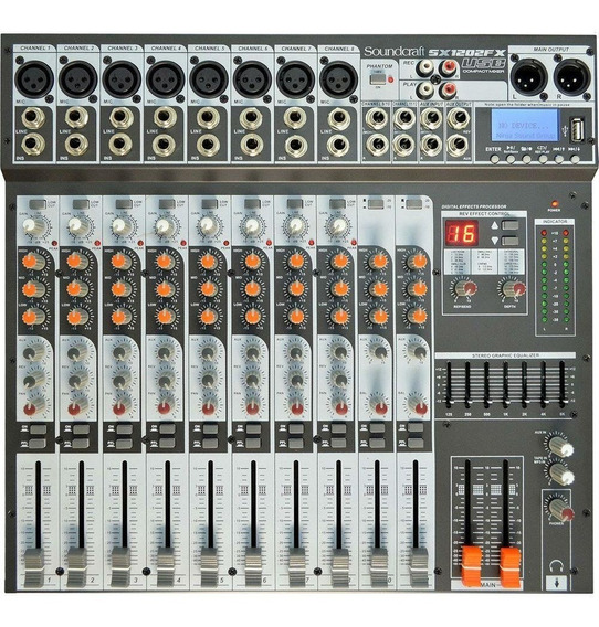 Mesa De Som Sx1202 Fx Usb Bivolt 12 Canais - Soundcraft +nf