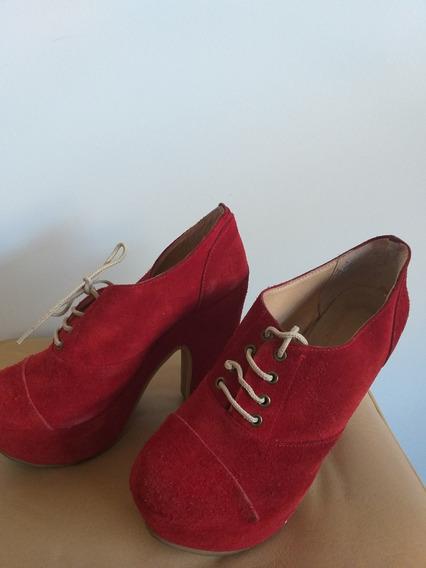 Zapato De Gamuza Rojo N 35