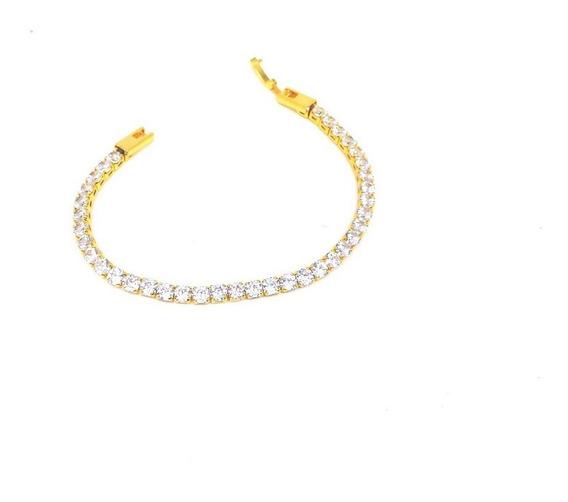 Pulseira Folheada A Ouro 18k Riviera Com Zirconias Cristal