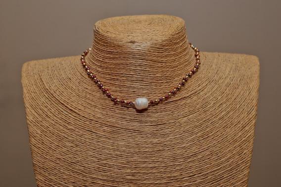 Collar Choker Cristal #2 Perla Luneta