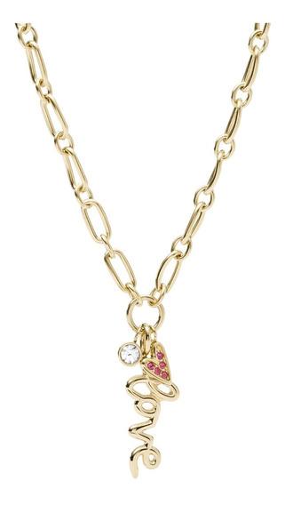 Collar Dama Fossil Jf03344710 Dorado De Acero