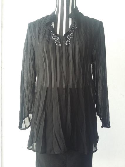 Camisola Negra, Seda Arrugada, Detalle De Bordado, T: M/46