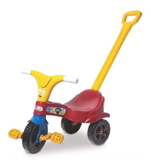 Motoca Infantil Vermelha Com Haste Triciclo Com Empurrador
