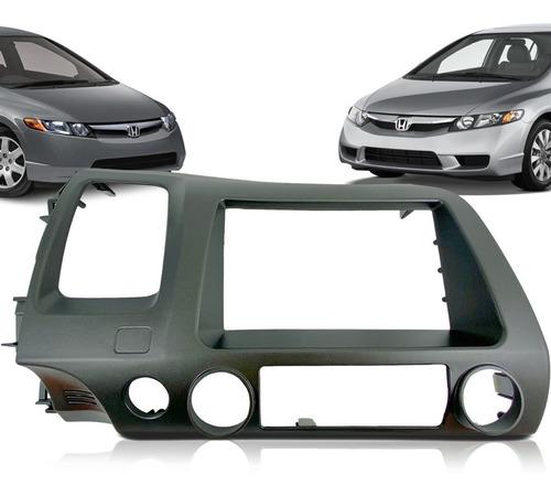 Imagem 1 de 8 de Moldura De Painel 2 Din Multimidia Dvd Mp5 Honda New Civic 2006 2007 2008 2009 2010 2011 Graf