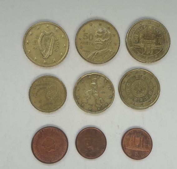 * Lote De 9 Euros. 9 Países Sin Repetir.