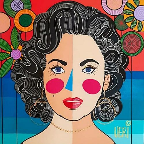Imagem 1 de 2 de Tela Elizabeth Taylor - Artista Plástica Veridiana