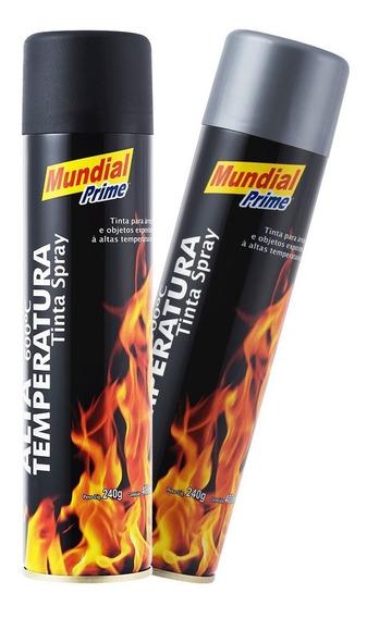 03x Tinta Spray Alta Temperatura Aluminio 400ml Mundial
