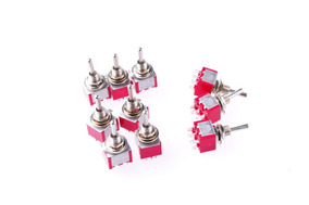 Mini Interruptor Ac 250v/2a 120v/5a Dpdt 10 Pcs On-off-on...