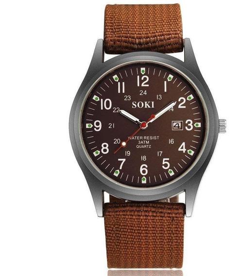 Relógio De Pulso Masculino Marrom Soki