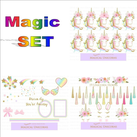 Kit Imprimible Unicornio Magic Glitter Dorado Mod1 Clipart