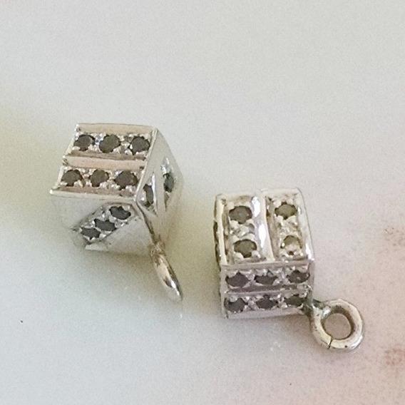 Dije De Dado Con Diamantes Negros En Oro Blanco De 14k