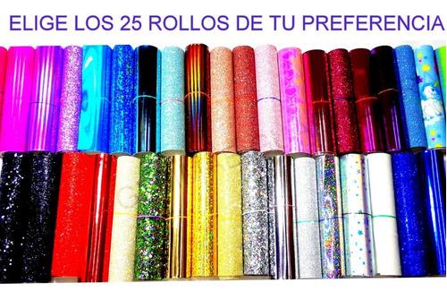 Imagen 1 de 10 de 23 Rollos Vinil Moños Glitter, Espejo, Escarchado+2 Regalo