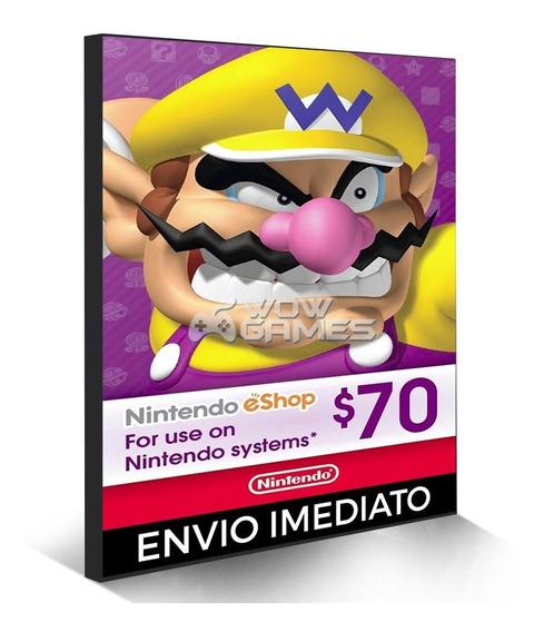 Cartão Nintendo 3ds Wii U Switch Eshop Ecash $70 Dolares Usa