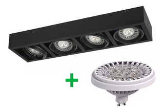 Aplique Plafon Box Cardanico 4 Luces Lampara Ar111 Led 48w