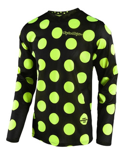 Remera Cross Troy Lee Gp Air Polka Dot Negro Amarillo Fluo