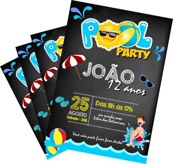 Convite Digital Piscina Pool Party Zap Imprimir Menino