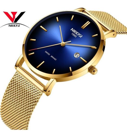 Relógio Unissex Nibosi 2362 Dourado Aço Inoxidável Original