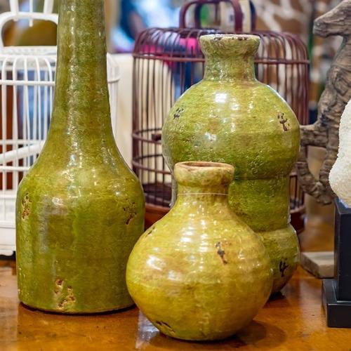 Imagem 1 de 4 de Kit Trio De Vasos Em Cerâmica Ocre Inglês