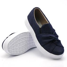 Tênis Casual Fem Dk Shoes Laço Nó Jeans Ou Preto Sapatenis