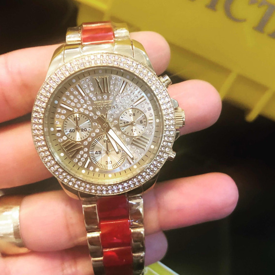 Relógio Invicta Angel Feminino 24126 B Ouro + Caixa Slot