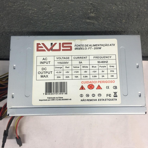 Fonte Nominal Evus Model: Ft-200w 24pinos 200w Sata