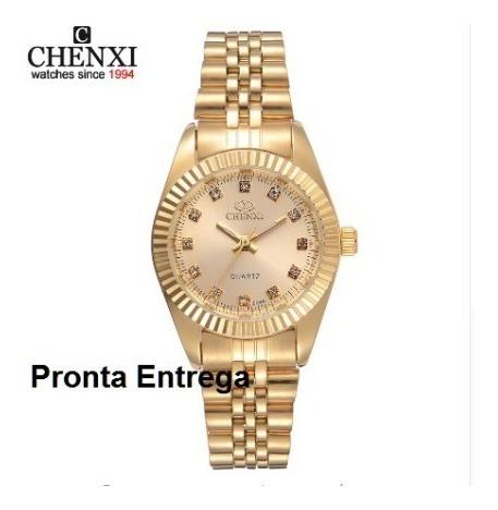 Relógio Original Chenxi Feminino De Luxo De Ouro