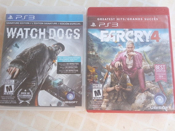 Watch Dogs E Farcry 4 Em Midia Fisica Ps3 + Brinde