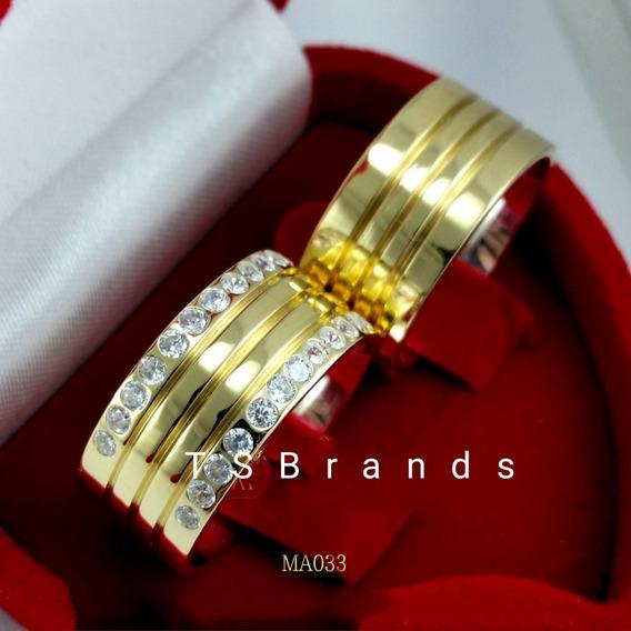 Anel Noivado Cor Ouro Pedras De Zircônio Frete Grátis Ma033