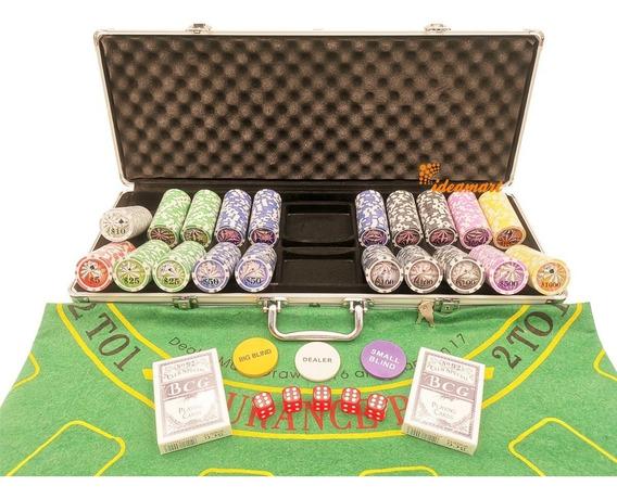 Maleta De Poker 500 Ficha Luxo Com Numeradas Kit Completo
