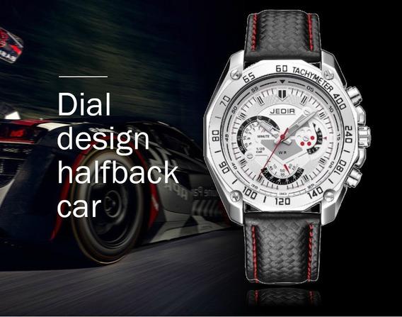 Relógio Pulso Masculino Luxo Jedir 5308 Importado Couro