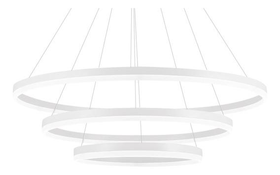 Lustre Candelabro Pendente Contemporâneo 3 Anéis Decorativo