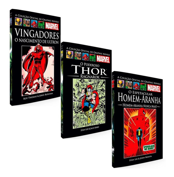Graphic Novels Marvel Salvat 3 Volumes Capa Preta Escolha