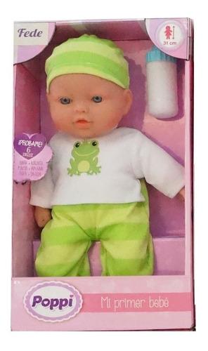 Muñeco Poppi Mi Primer Bebe C/sonido Y Biberon 27001 Edu