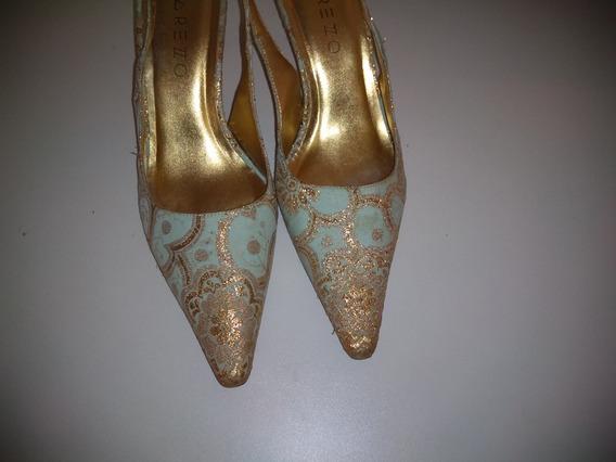 Sapato 35 Sandália Seda Azul Bordada Fio Dourado Salto 7cm