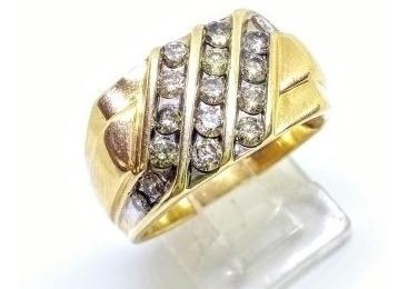 Anillo Para Caballero 10k Con Diamantes Naturales 1.24cts